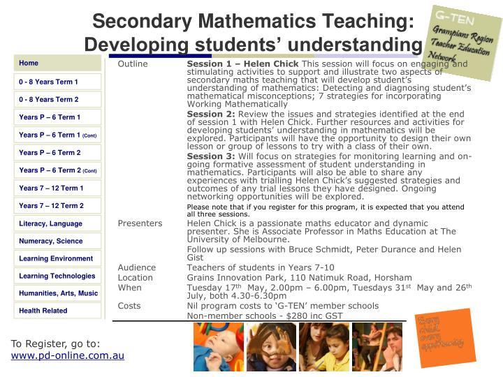 Secondary Mathematics Teaching: Developing students' understanding