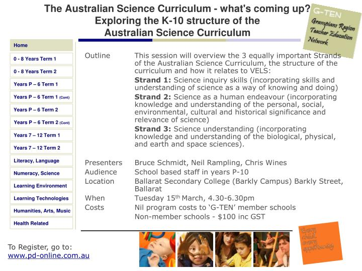 The Australian Science Curriculum - what's coming up?