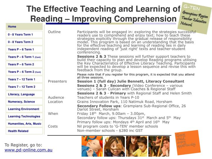 The Effective Teaching and Learning of Reading – Improving Comprehension