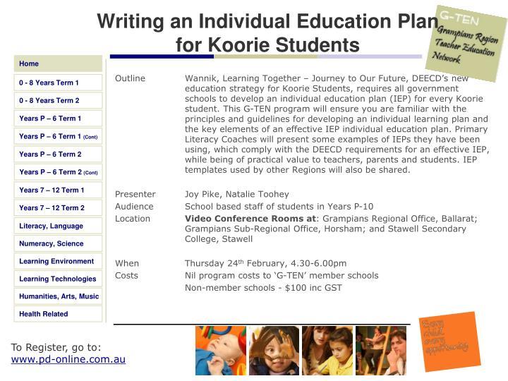 Writing an Individual Education Plan