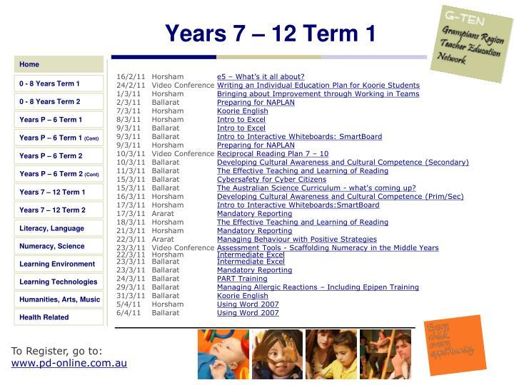 Years 7 – 12 Term 1