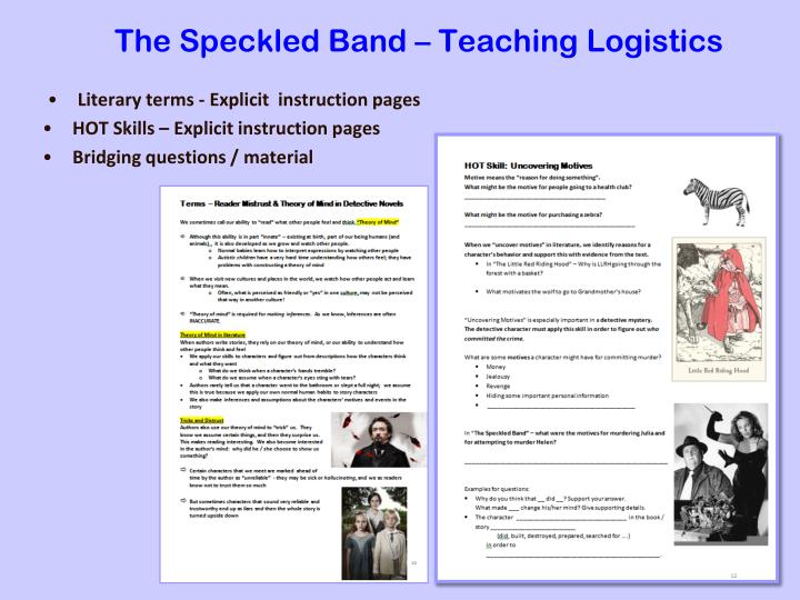 The Speckled Band – Teaching Logistics