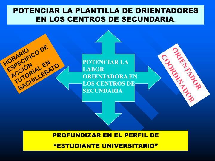 POTENCIAR LA PLANTILLA DE ORIENTADORES EN LOS CENTROS DE SECUNDARIA