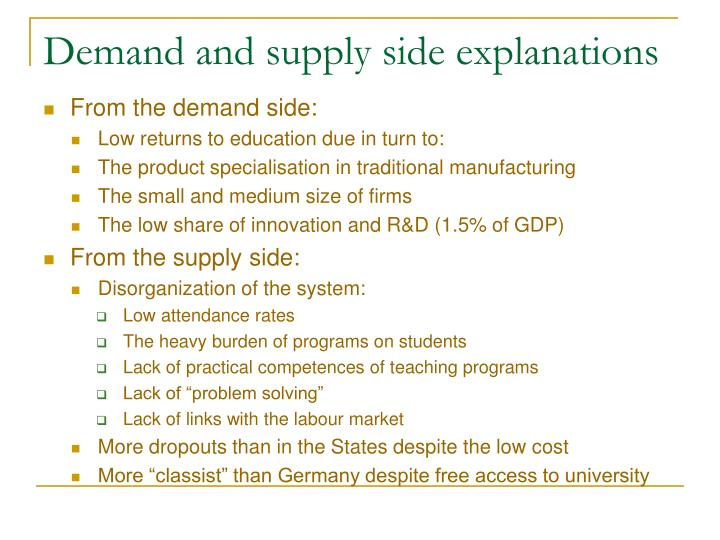 Demand and supply side explanations