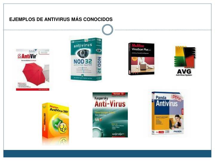 EJEMPLOS DE ANTIVIRUS MÁS CONOCIDOS