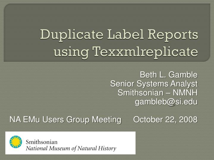 Duplicate Label Reports using
