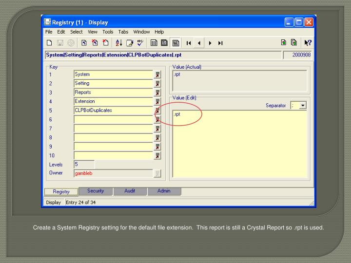 Create a System Registry setting for the default file extension.  This report is still a Crystal Report so .rpt is used.