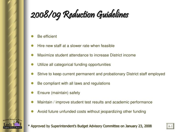 2008/09 Reduction Guidelines