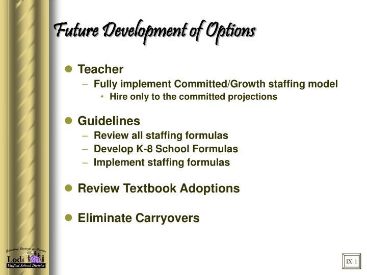 Future Development of Options