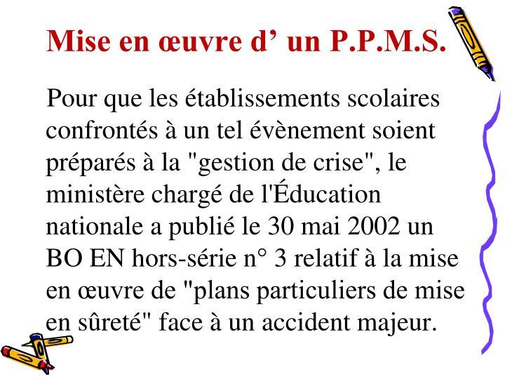 Mise en œuvre d' un P.P.M.S.
