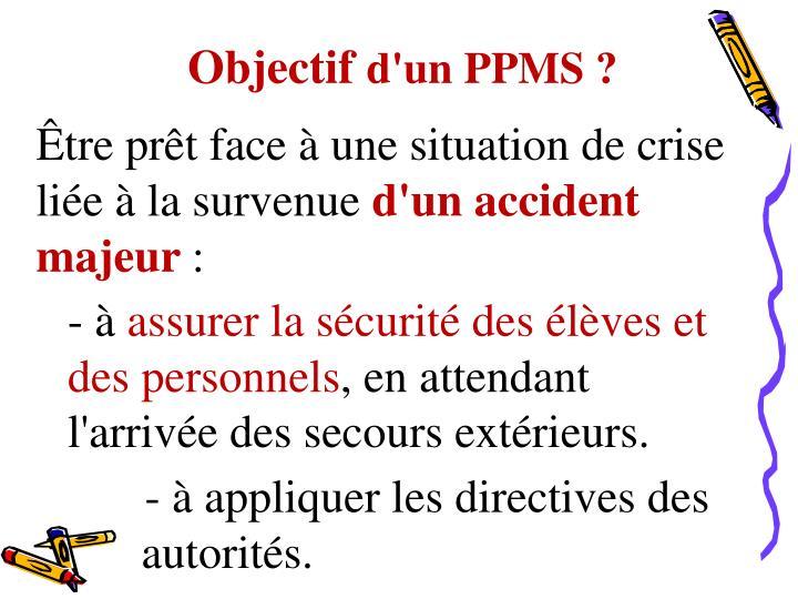 Objectif d un ppms
