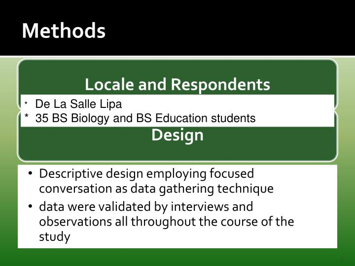 Locale and Respondents