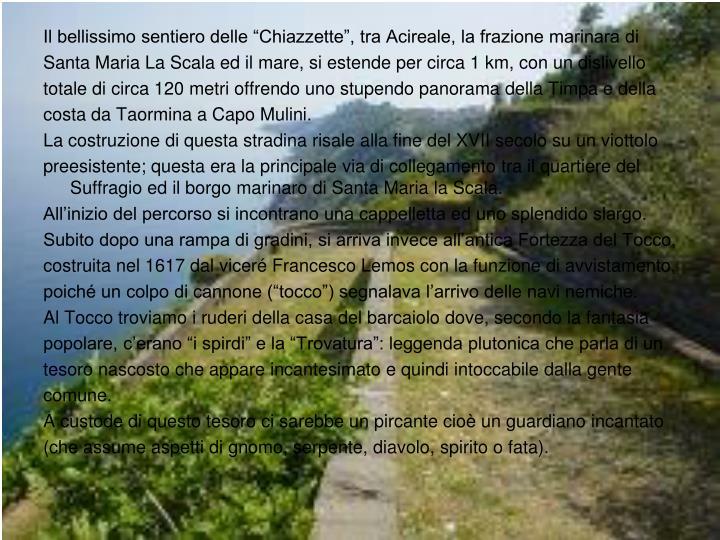 """Il bellissimo sentiero delle """"Chiazzette"""", tra Acireale, la frazione marinara di"""