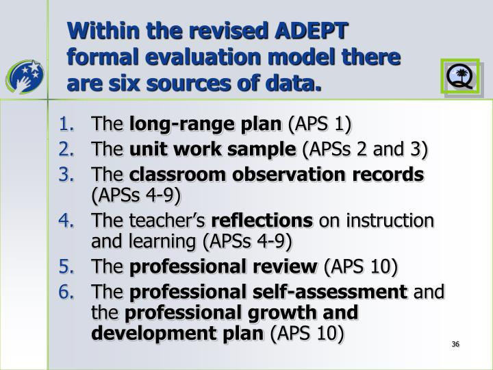 Within the revised ADEPT formal evaluation model there are six sources of data.