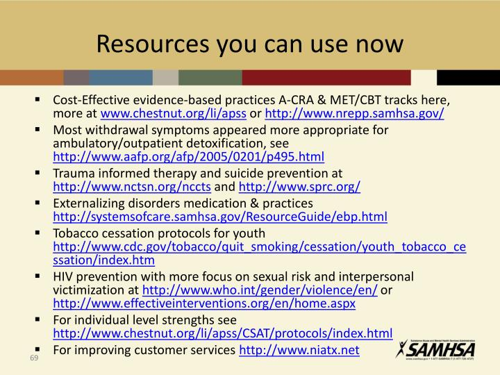 Resources you can use now