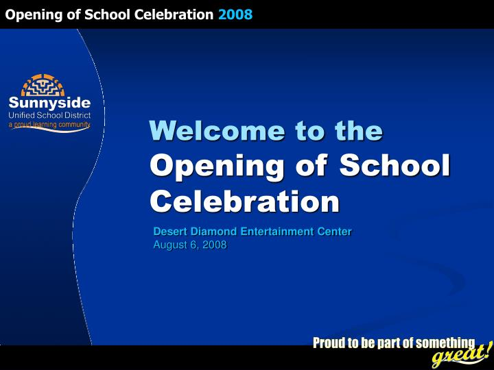 welcome to the opening of school celebration n.