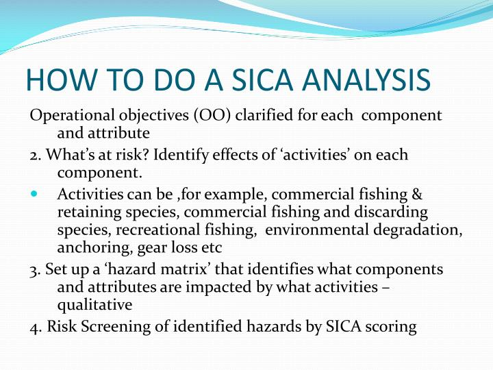 HOW TO DO A SICA ANALYSIS