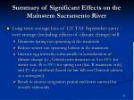 summary of significant effects on the mainstem sacramento river