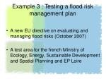 example 3 testing a flood risk management plan