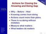 actions for closing the knowing and doing gap