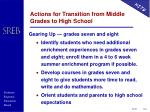 actions for transition from middle grades to high school