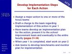 develop implementation steps for each action