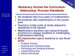 numeracy across the curriculum addressing process standards