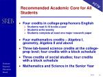 recommended academic core for all students