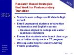 research based strategies that work for postsecondary transition
