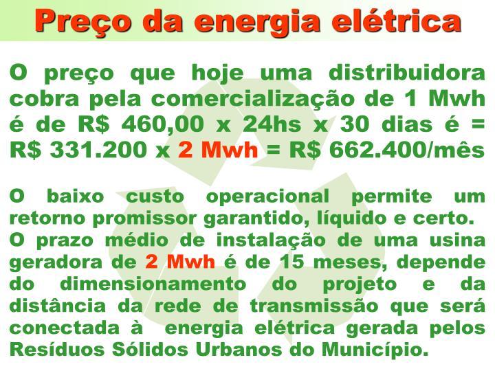 Preço da energia elétrica
