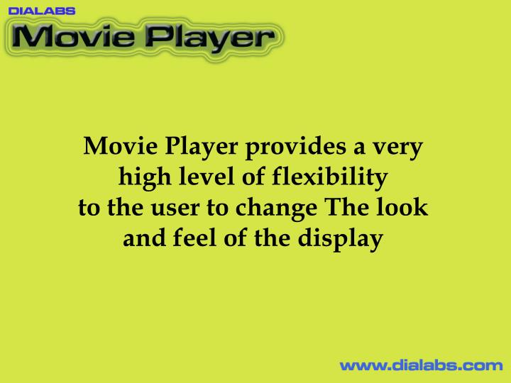 Movie Player provides a very high level of flexibility