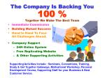 the company is backing you 100 together we make the best team