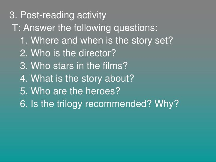 3. Post-reading activity