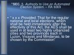 sec 5 authority to use an automated election system ra 9369