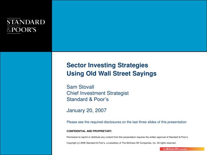PPT - Sector Investing Strategies Using Old Wall Street
