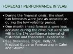 forecast performance in vlab