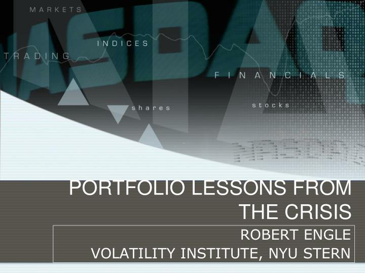 portfolio lessons from the crisis n.