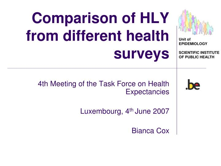 comparison of hly from different health surveys n.