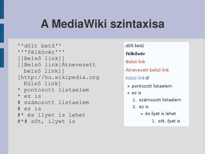 A MediaWiki szintaxisa