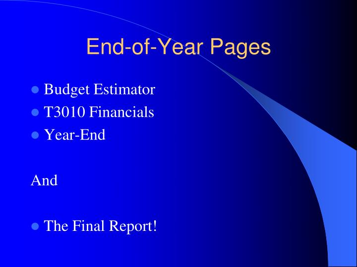 End-of-Year Pages
