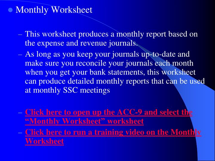 Monthly Worksheet