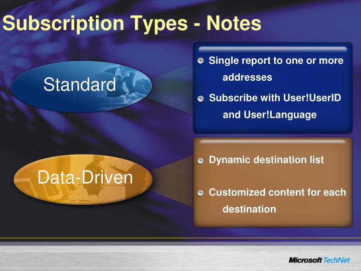 Subscription Types - Notes