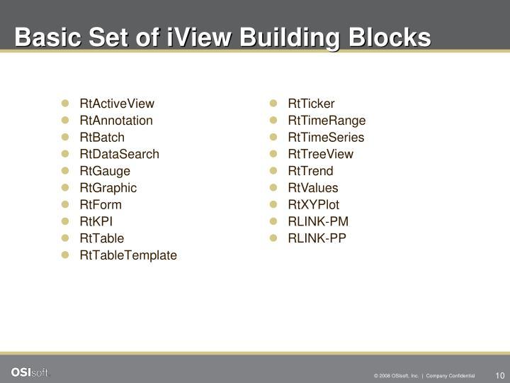 Basic Set of iView Building Blocks