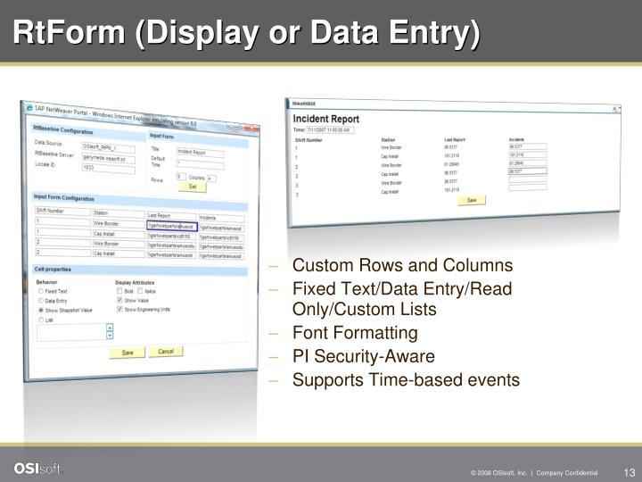 RtForm (Display or Data Entry)