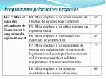 programmes prioritaires propos s
