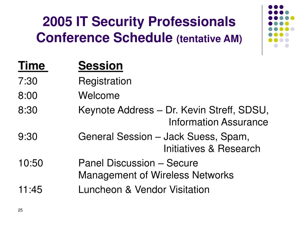 PPT - Planning and Conducting An IT Security Conference Two