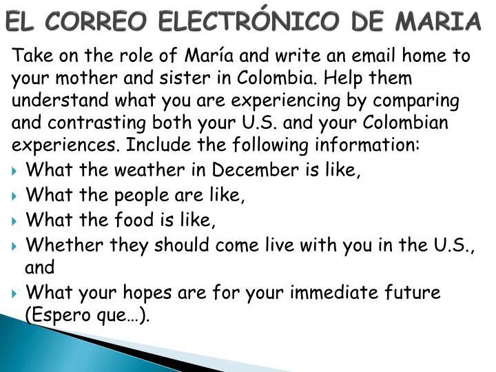 EL CORREO ELECTRÓNICO DE MARIA