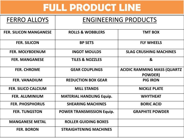 FULL PRODUCT LINE