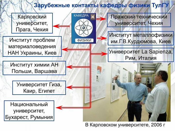 Зарубежные контакты кафедры физики ТулГУ