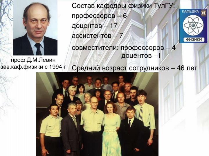 Состав кафедры физики ТулГУ: